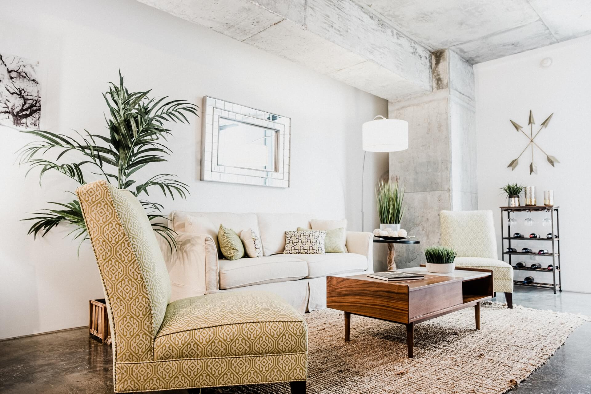 A living area in a unit at 930 Poydras