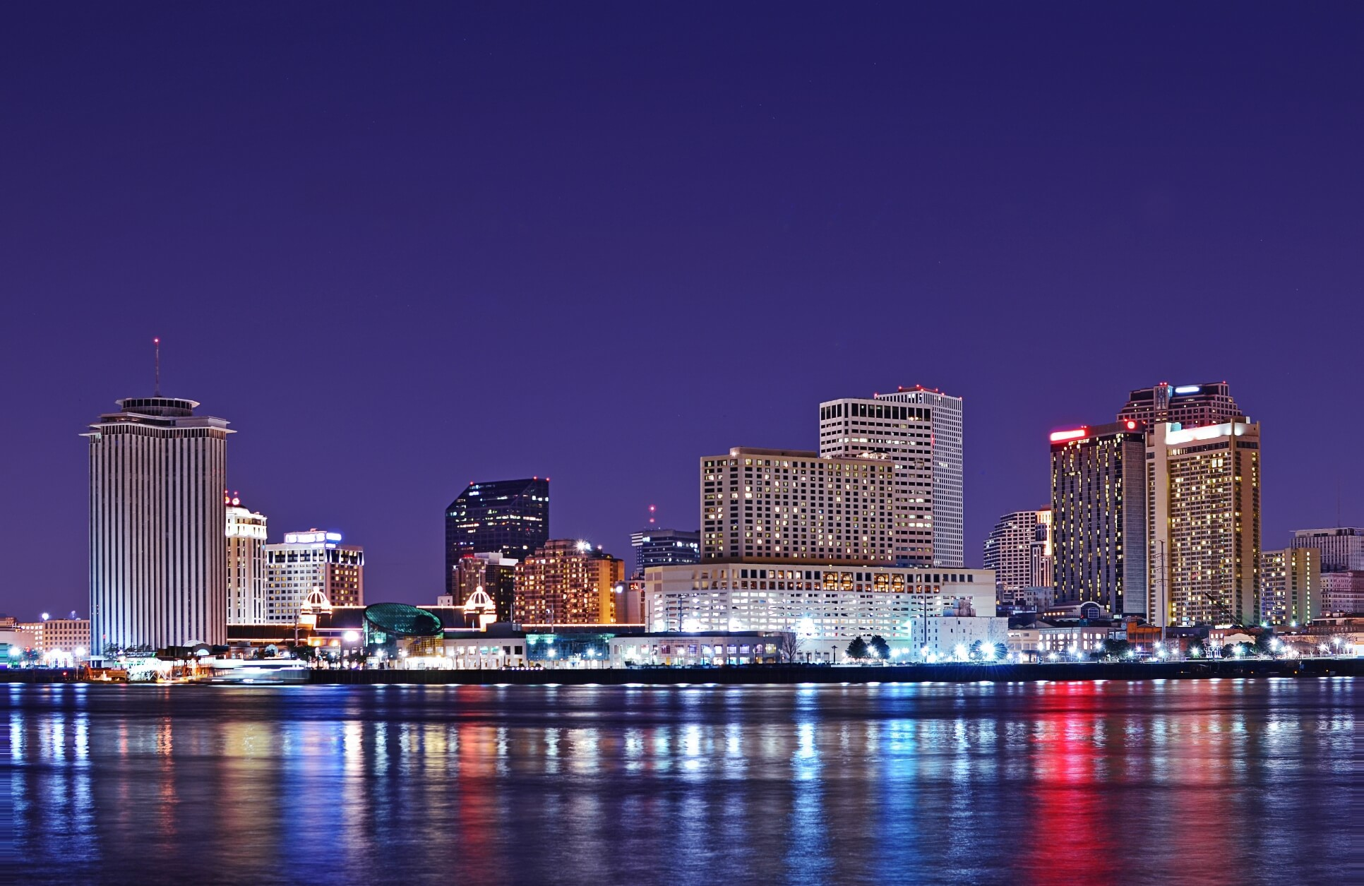 Riverfront view of downtown New Orleans